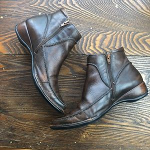 PIKOLINOS Brown Leather Side Zip Ankle Booties